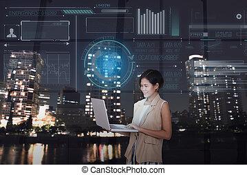 businesswomen, 使用計算机, 由于, 數字, 實際上, 屏幕, 背景。, 概念, 商務技術, 以及, 革新, future.
