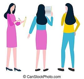 Businesswomen creative Plan, Team Strategy Vector