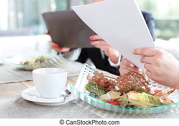 Businesswomen during a business lunch