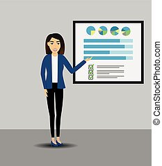 Businesswomen giving a presentation with banner. Infographic on office board. Business concept