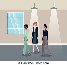businesswomen group in corridor office