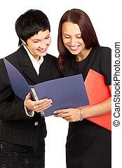 Businesswomen - Happy successful businesswomen. Isolated ...