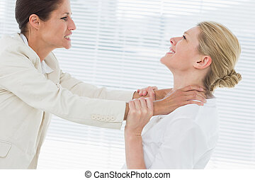 Businesswomen having a violent fight - Side view of two...