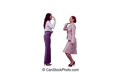 Businesswomen in slow motion giving high-five