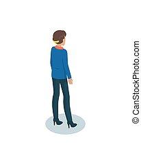 Businesswomen in Uniform Pictoral Isometric Icon - Heeled...