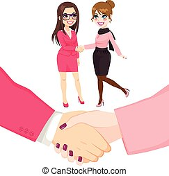 Businesswomen People Shaking Hands - Young businesswomen...