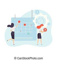 Businesswomen Planning Their Project Agenda in Calendar, Time Management Business Concept Vector Illustration