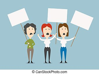 Businesswomen protesting with blank placards