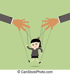 Businesswomen puppet on ropes. Business manipulate behind the scene concept