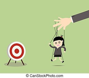 Businesswomen puppet on ropes to target. Business manipulate behind the scene concept