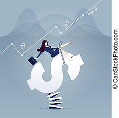 Businesswomen rodeo money sign - Business concept vector