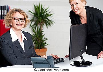 Businesswomen sitting in modern office