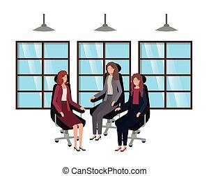 businesswomen sitting in office chair avatar character