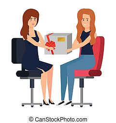 businesswomen sitting in office chair giving gift