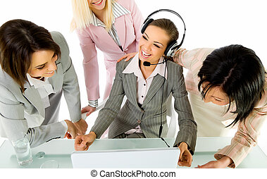 Businesswomen smiling