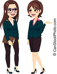 Two beautiful businesswomen team standing talking of business