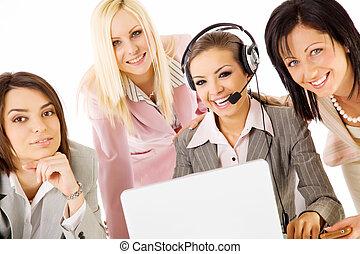 Businesswomen team smiling