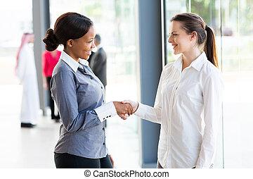 businesswomen, uzgadnianie, dwa
