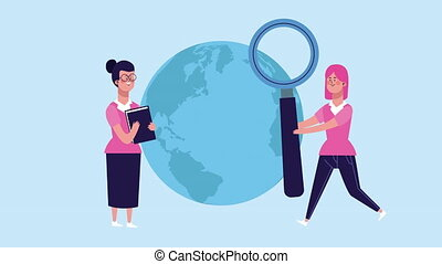 businesswomen with book and magnifying glass characters ...