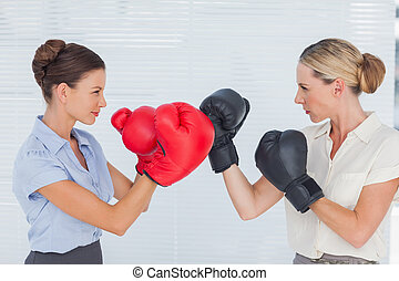 Businesswomen with boxing gloves fighting