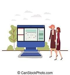 businesswomen with computer desktop avatar character