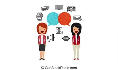 businesswomen with ecommerce technology animation , hd video...