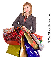 Businesswomen with group of bag.