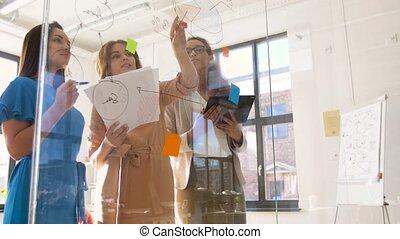 businesswomen with pie chart on office glass board -...