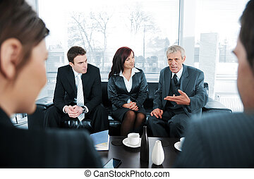 businsss, gente, tomar café, en, reunión de la oficina