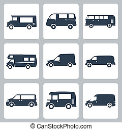 busjes, set, iconen, vector, (side, view)