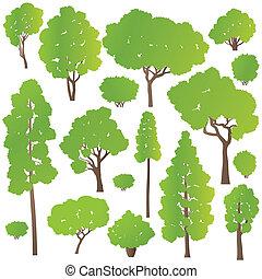 buskar, begrepp, träd, vektor, sätta, ekologi, bakgrund
