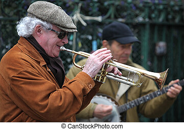 buskers, juego, músico, metro, actuar, -, calles, 27, no...