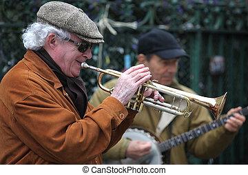 buskers, toneelstuk, musicus, metro, uitvoeren, -, straten, ...