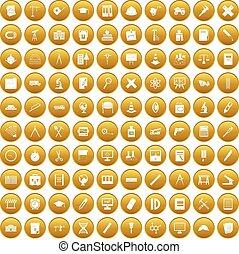 busola, 100, komplet, złoty, ikony