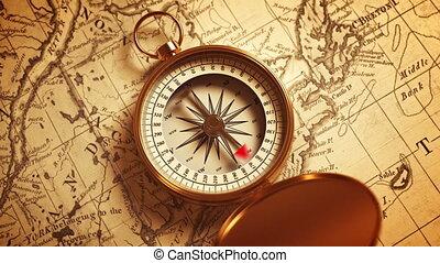 busola, złoty, kierunek, mapa, wskazywanie