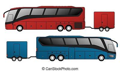 buss, fäst, turist, släpvagn