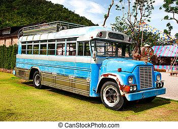 buss, grön, gammal, övergiven, fält