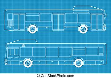 buss, illustration, hög, detaljerad