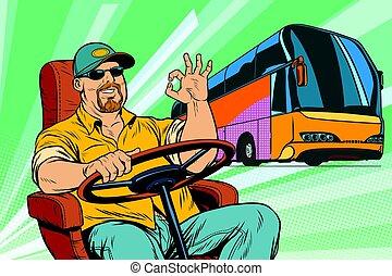 buss, okay, chaufför, turist