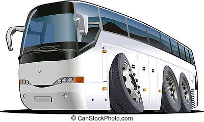 buss, tecknad film, turist