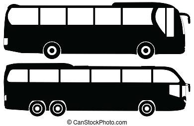 buss, vektor, sätta