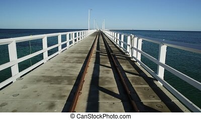 Busselton train rail track - Perspective view of vintage...