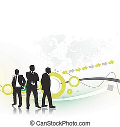Abstract background with standing success businessman silhouetted . Vector illustration.