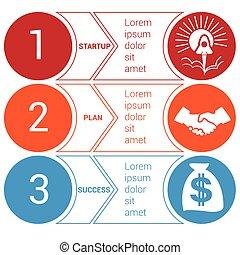 bussines, cercles, démarrage, flèches, 3, infographic, positions, minimal