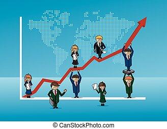 bussines, conceito, finanças, gráfico, crescimento, equipe