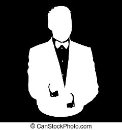 bussines, cravate, avatar, homme