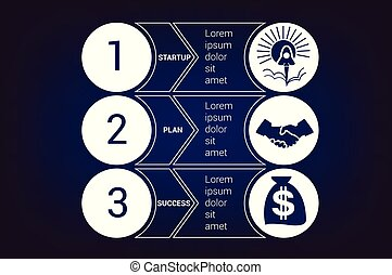 bussines, gabarits, bandes, cercles, positions, démarrage, 3, infographic, horizontal
