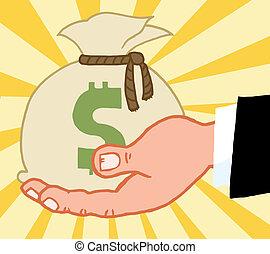 bussines, geld, hand houdend, zak