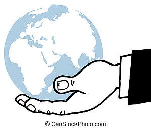 Bussines Hand Holding Globe