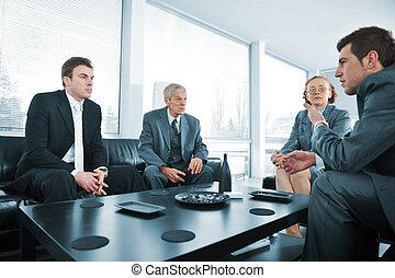 bussines, pessoas escritório, partir, reunião, tendo